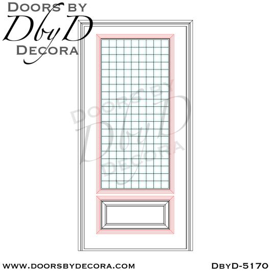 modern 1-lite leaded glass door