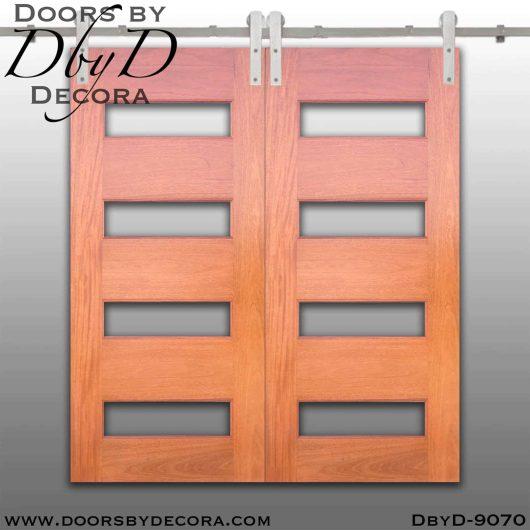 specialty 4-lite double barn doors
