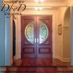 modern stained glass double doors
