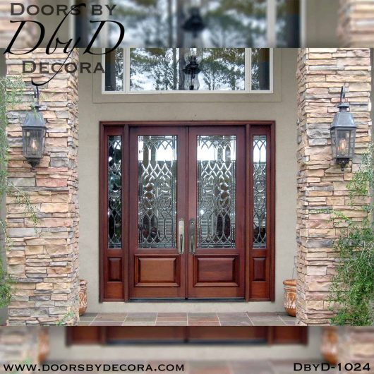 leaded glass double doors and sidelites
