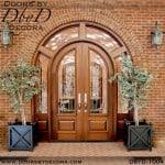 leaded glass double radius double doors