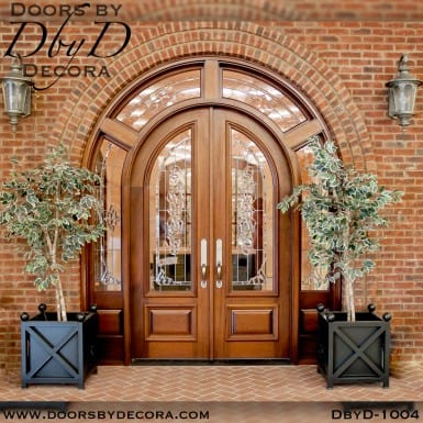 leaded glass double radius double doors