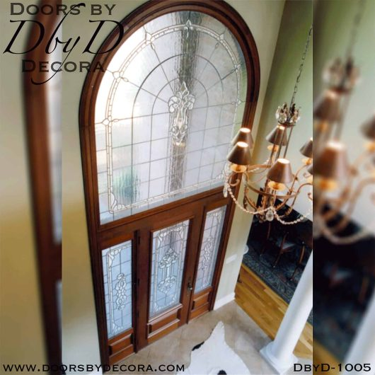 leaded glass door and transom