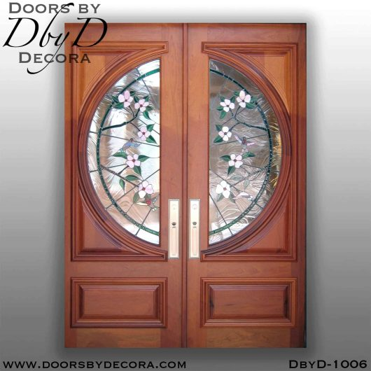 leaded glass hummingbird glass doors