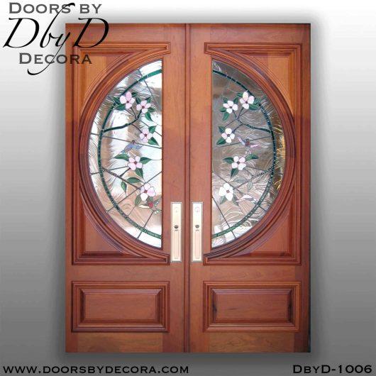 leaded glass hummingbird glass doors
