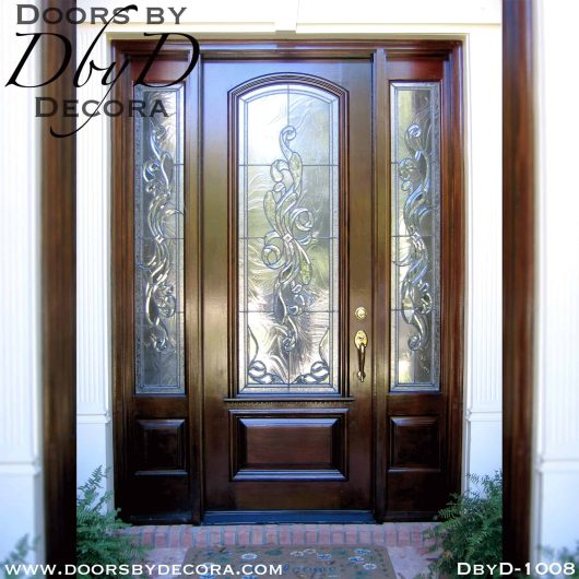 leaded glass door and sidelites