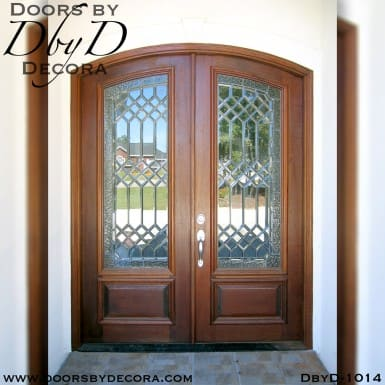 leaded glass double door