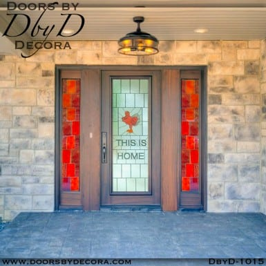 leaded glass collegiate hokiebird door