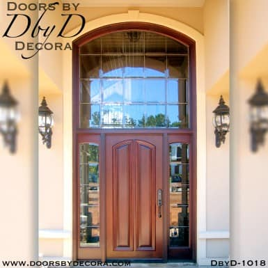 leaded glass wood door and transom