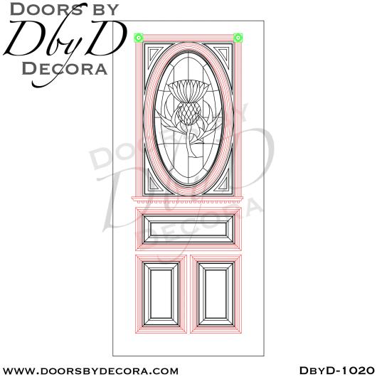 leaded glass thistle door