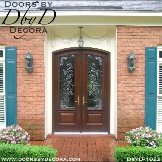 leaded glass double entry doors