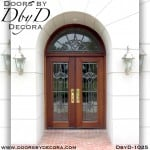 leaded glass double doors and transom