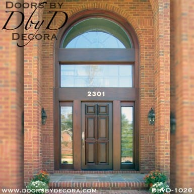 leaded glass solid door with transom