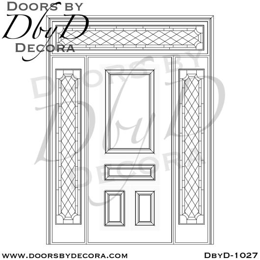 leaded glass 4-panel door