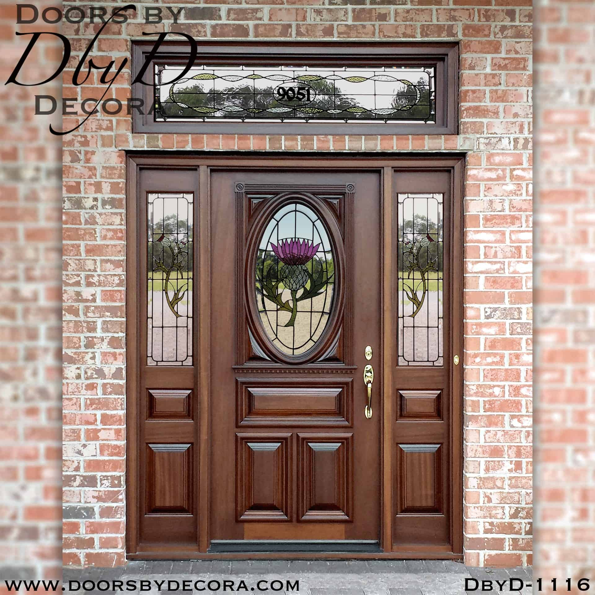 Custom Leaded Glass Thistle Entry Solid Wood Entry Doors By Decora