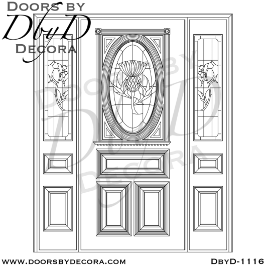 leaded glass thistle entry
