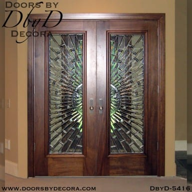 modern leaded glass doors