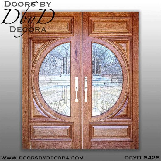 modern leaded glass double doors
