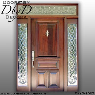 solid door 4-panel with leaded glass