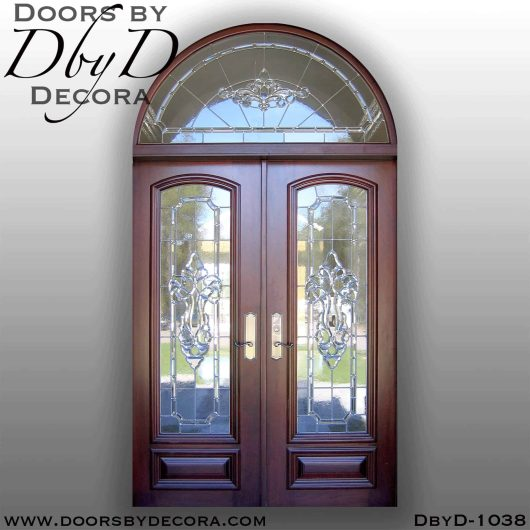 leaded glass doors and transom