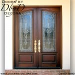 leaded glass mahogany double doors