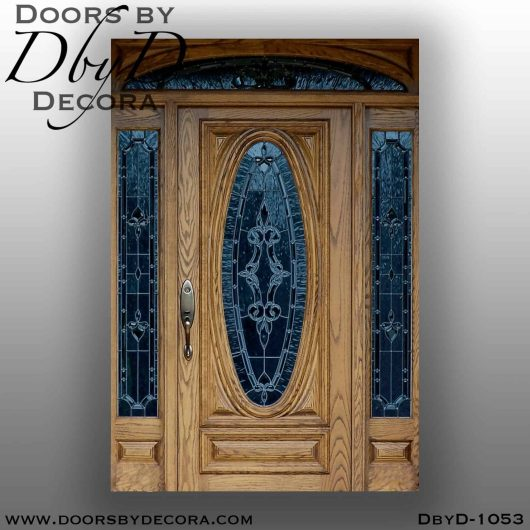 leaded glass oak front door