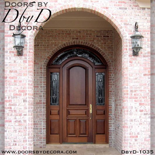 leaded glass exterior wood entry