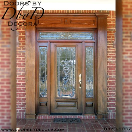 leaded glass wood entry