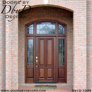 leaded glass mahogany exterior entry