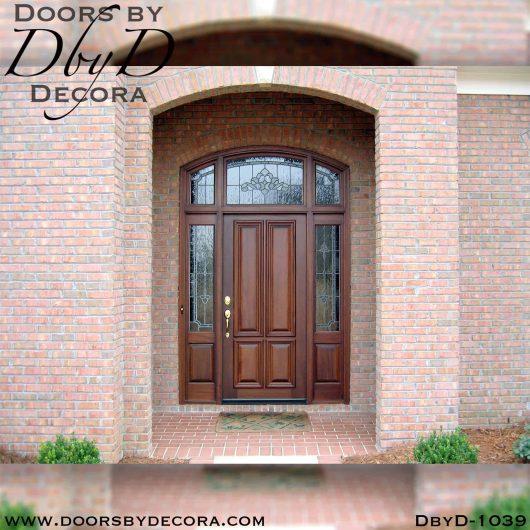 leaded glass mahogany exterior entry