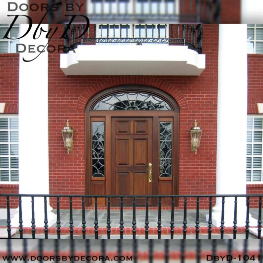 leaded glass mahogany wood entry