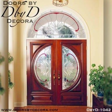 leaded glass double doors transom