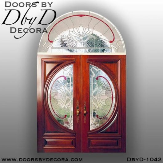leaded glass double doors transom