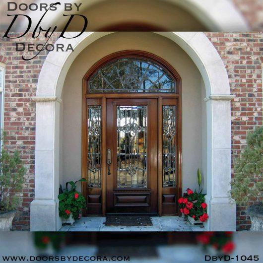 leaded glass exterior door unit