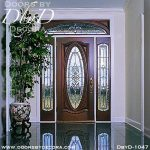 leaded glass oval door