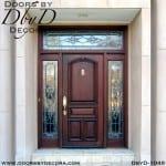 leaded glass mahogany door entry