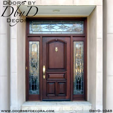 leaded glass mahogany door entry