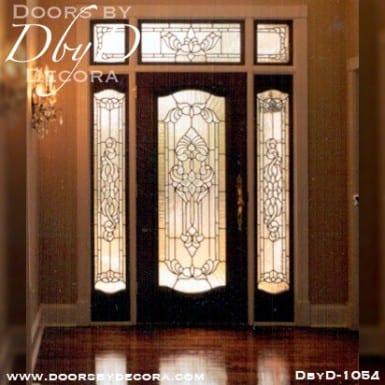 leaded glass mahogany entry