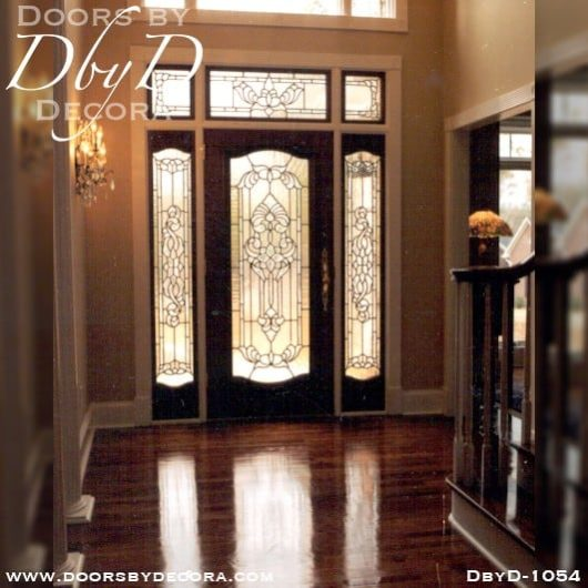 leaded glass mahogany entry