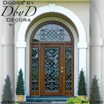 leaded glass radius entry door