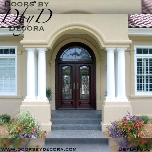 leaded glass double door entry