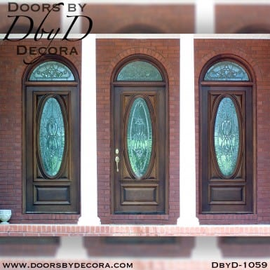 leaded glass oval doors