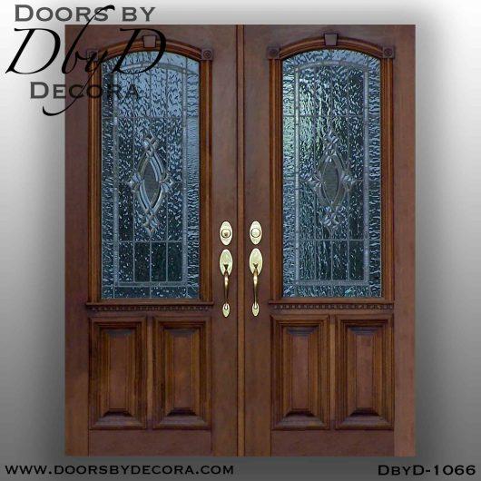 leaded glass exterior wood doors