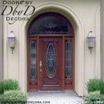 leaded glass oval lite glass door