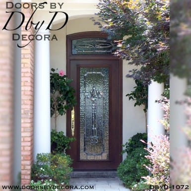 leaded glass door and transom unit