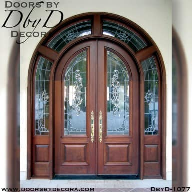 leaded glass double radius doors