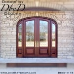 leaded glass elliptical exterior entry