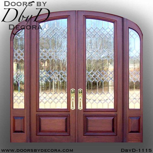 leaded glass elliptical exterior entry