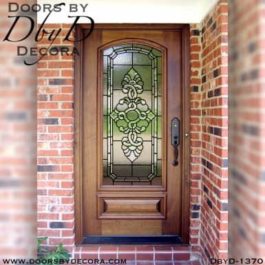 leaded glass wood door