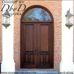 leaded glass double doors radius transom